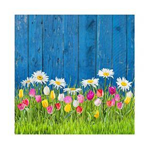 Leowefowa 3x3m Vinyle Pques Toile de Fond Photo Jardin Planches de Bois Champs d'herbe Verte Tulipes Fleurs Fond De Studio Photographie Props Photobooth - Publicité