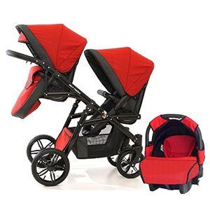 BBtwin Poussette double enfants différents ges. 2 chaises + 1 siege auto + accessoires. Publicité