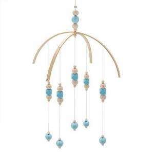 Hztyyier Lit bébé Mobile Style nordique Perles en bois Carillons éoliens pour enfants Lit suspendu Décor Accessoires de photographie(Bleu) - Publicité
