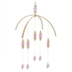 Hztyyier Lit bébé Mobile Style nordique Perles en bois Carillons éoliens pour enfants Lit suspendu Décor Accessoires de photographie(Rose) - Publicité