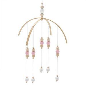 Hztyyier Lit bébé Mobile Style nordique Perles en bois Carillons éoliens pour enfants Lit suspendu Décor Accessoires de photographie(Rose blanc) - Publicité