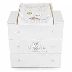 Klups Commode  langer bébé enfant Table  langer + Matelas  langer amovible 3 tiroirs hibou vert Matériel de Haute Qualité - Publicité