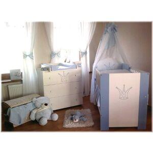 Klups Babykrone Chambre pour bébé incluant lit pour bébé, commode avec table  langer, sommier  lattes, matelas, et parure de lit Bleu 12 pices - Publicité