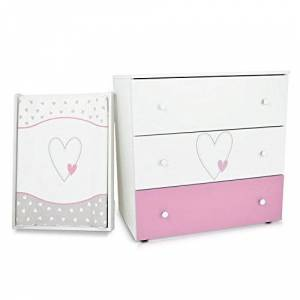Klups Commode  langer bébé enfant Table  langer + Matelas  langer amovible 3 tiroirs Cur rose Matériel de Haute Qualité - Publicité