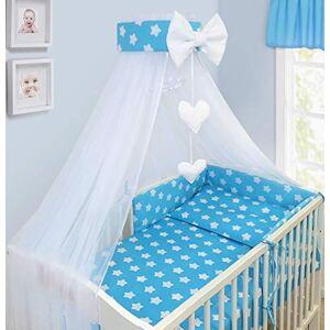 Babymam Bébé Baldaquin Drapé Moustiquaire avec Support Pour Lit D'Enfant & Lit Bébé Neuf Designs Grand Blanc Stars Sur Turquoise - Publicité