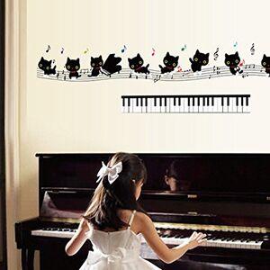 Wallpark Noir Charmant Dansant Chat avec Piano Musique Symbole Amovible Stickers Muraux Autocollants, Enfants Bébé Chambre Pépinire DIY Décoratif Adhésif Stickers Mural - Publicité