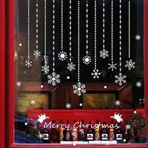 Wallpark Blanc Noël Flocon de neige Perler Rideau Fenêtre Stickers Muraux Autocollants, Chambre Boutique Décoratif Amovible Adhésif DIY Stickers Mural - Publicité