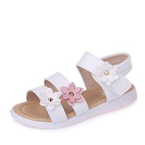 QZBAOSHU Sandale Fille Chaussure Enfant Fille Ete Sandalette Fille Cuir 24 EU,Blanc - Publicité