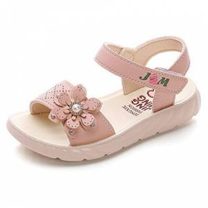 QZBAOSHU Sandale Fille Chaussure Enfant Fille Ete Sandalette Fille Cuir 32 EU,Rose Clair - Publicité