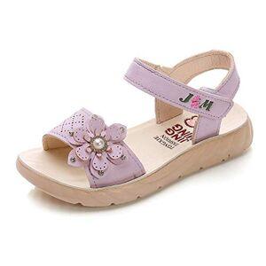 QZBAOSHU Sandale Fille Chaussure Enfant Fille Ete Sandalette Fille Cuir 34 EU,Violet - Publicité