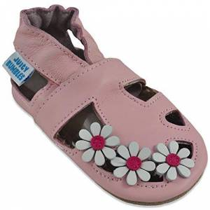 Juicy Bumbles Sandales Fille Chaussure Bebe Fille Chausson Bebe Cuir Souple Chaussures Enfants Filles Sandale Marguerites Roses 6-12 Mois - Publicité