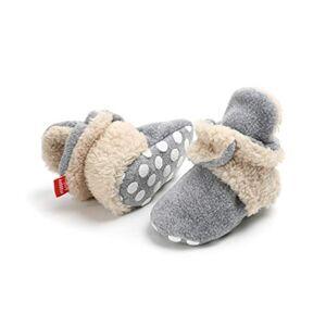 EDOTON Bottes Bande pour Bébé Unisex, Garder au Chaud Doux Sole Bottes de Neige Berceau Chaussures Enfant Bottes Adapté pour 0-18 Mois Bébé (0-6 Mois, Gris-Kaki, Taille de l'étiquette 11) - Publicité