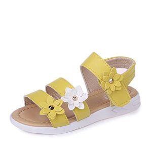 QZBAOSHU Fille Sandales avec Trois Fleurs Cuir Chaussures Sandales pour Peu Fille 28 EU/tiquette 28 1-Jaune - Publicité