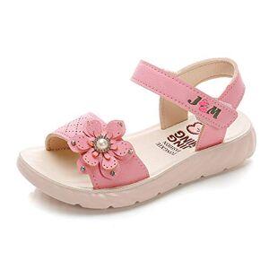 QZBAOSHU Sandale Fille Chaussure Enfant Fille Ete Sandalette Fille Cuir 27 EU,Rose Foncé - Publicité