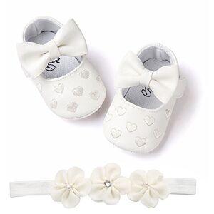 yuyuanDO bebe Bébé Fille Chaussures Ballerines Dentelle+Bandeau Fleur Ensemble Anniversaire Baptme Cérémonie Bambin bebe 0-18mois Semelle Souple Anti-dérapant Princesse Chaussures (11(0-6mois), Coeur A) - Publicité