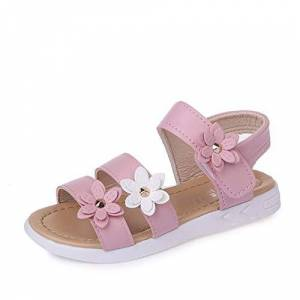 QZBAOSHU Fille Sandales avec Trois Fleurs Cuir Chaussures Sandales pour Peu Fille 21 EU/tiquette 21 1-Rose - Publicité
