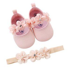 yuyuanDO bebe Bébé Fille Chaussures Ballerines Dentelle+Bandeau Fleur Ensemble Anniversaire Baptme Cérémonie Bambin bebe 0-18mois Semelle Souple Anti-dérapant Princesse Chaussures (11(0-6mois), rose) - Publicité