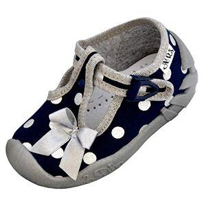 ARS Chaussons bébé Fille Respirant Sucré Chaussons bébé 9 Couleurs avec Semelle en Cuir Véritable Petite Fille   Taille 20  25 (24, Pois Bleu Marine) - Publicité