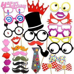 Veewon Accessoires Photobooth pour fte d'anniversaire Photos Moustache, Cadres Lunettes, Cravates, Lvres, Couronne, Chapeau et Joyeux Anniversaire Connectez-vous Kit de bricolage 31 Set - Publicité