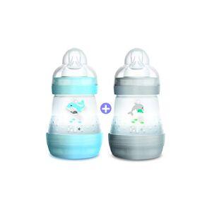 MAM Biberon Easy Start Anti-Colique avec base aérée, lot de 2 x 160 ml  0+ mois  Tétine débit 1, vitesse lente, pour nouveau-nés  Bleu, blanc - Publicité