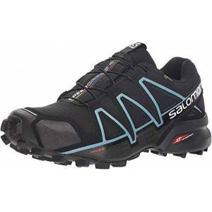 SALOMON Speedcross 4 GTX Chaussures De Trail, Femme, Noir (Black/Black/Metallic Bubble Blue), 43 1/3 EU - Publicité