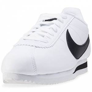 Nike Wmns Classic Cortez Leather, Chaussures de Sport Femme, Bianco, 36,5 EU, Blanc (White/black-white), 36 EU - Publicité
