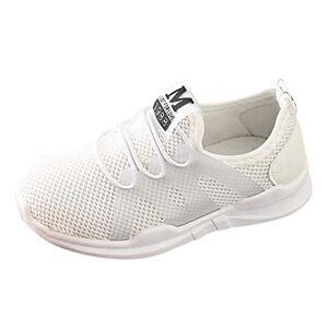 DAY8 Chaussures DAY8 Basket Fille Pas Cher Mode Basket Enfants Garon Sport Running Chaussure Garcon Lacet Automne Mesh Tricot Sneakers Fille Printemps Chaussure de Course Fille Caoutchouc (Blanc, 27 EU) - Publicité