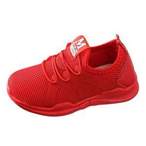 DAY8 Chaussures DAY8 Basket Fille Pas Cher Mode Basket Enfants Garon Sport Running Chaussure Garcon Lacet Automne Mesh Tricot Sneakers Fille Printemps Chaussure de Course Fille Caoutchouc (Rouge, 32 EU) - Publicité