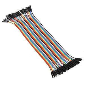 SODIAL Cable de connexion Fil dupont femelle a femelle de la dimension de 10cm x 2.54mm pour Arduino Breadboard - Publicité