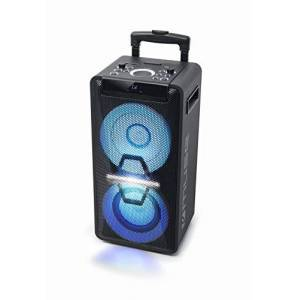 Muse Systme DJ PA avec Batterie, 300 W, CD, Bluetooth et Effets Lumineux (USB, AUX, Microphone, télécommande) Noir - Publicité