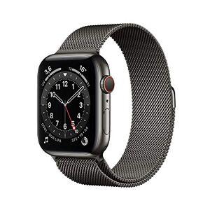 Apple Watch Series6 (GPS+Cellular, 44 mm) Botier en Acier Inoxydable Graphite, Bracelet Milanais Graphite - Publicité