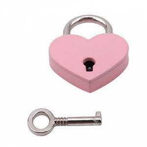 VWH Cadenas de Forme de Coeur Serrure Plate d'amour de Coeur avec la Clé pour Le Cadeau de Valentine Journal Valise Bagage (Rose) - Publicité
