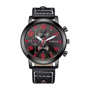 Souarts Homme Montre Bracelet Quartz Analog Cadran Rond Business Sangle en Cuir PU Noir 25.5cm - Publicité
