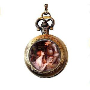 qws Lady with her Knight in Shining Armor Bijoux d'art Renaissance Collier de montre de poche Waterhouse - Publicité