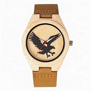IOMLOP W458202 Montre  quartz en bois d'ébne et bois de santal rouge avec bracelet en cuir naturel et cadran aigle - Publicité