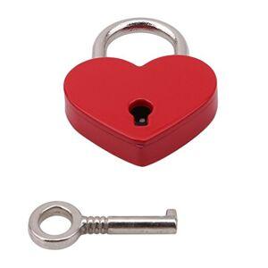 VWH Cadenas de Forme de Coeur Serrure Plate d'amour de Coeur avec la Clé pour Le Cadeau de Valentine Journal Valise Bagage (Rouge) - Publicité