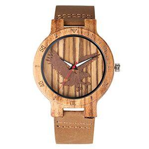 IOMLOP W458204 Montre  quartz en bois d'ébne et bois de santal rouge avec bracelet en cuir naturel et cadran aigle - Publicité