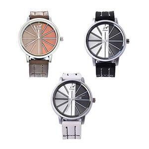 Souarts Homme Montre Bracelet Quartz Analog Cadran Rond Cuir Artificielle (3pcs Noir+Marron+Blanc) - Publicité