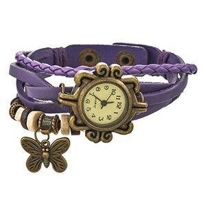 Souarts Femme Montre Bracelet Quartz Vintage Retro Tisser Bracelet en PU Cuir Papillon Décor pour Fille Femme (Violet) - Publicité