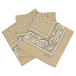 Laciteinterdite Lot de 3 bandanas paisley Foulard coton motif cachemire vendu par 3 Beige Taille Unique - Publicité
