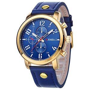 Souarts Homme Montre Bracelet Quartz Analog Cadran Rond Business Sangle en Cuir PU Bleu 25.5cm - Publicité