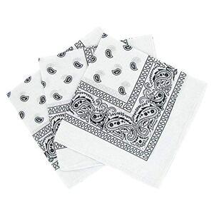 Laciteinterdite Bandanas paisley lot de 3 Foulard coton motif cachemire, accessoire cheveux tendance Blanc Taille Unique - Publicité
