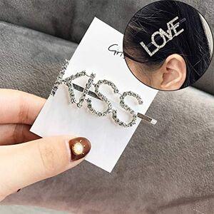 Nobrand Accessoires cheveux Mode JRC luxe strass cristal Barrettes femme lettres CÉRÉMONIES Couvre-chef (BOYS) Bandeau serre-tête et (Color : KISS) - Publicité