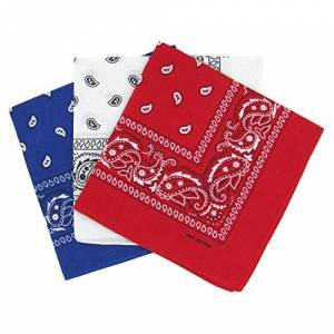 Laciteinterdite Lot de 3 bandanas paisley bleu, blanc et rouge Foulard coton motif cachemire vendu par 3 taille unique - Publicité