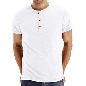 ZONGMIC SOIXANTE T-Shirt Homme Manches Courtes en Coton Col Tunisien, Blanc, XXL - Publicité