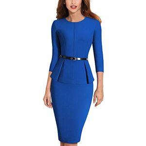 HOMEYEE Elégante Robe de soirée à col Rond et Ceinture à Basques pour Femmes B473 (EU 42 = Size XL, Bleu) - Publicité