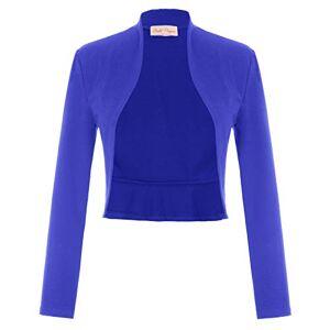 Belle Poque Bolero Bleu Roi Manche Longue Ouvert Devant Top Femme Chic S BP788-15 - Publicité