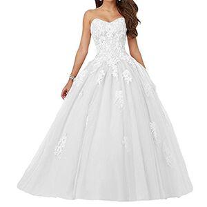 JAEDEN Robe de mariée Robe de Quinceanera Longue Robe de Bal Robe de soirée Tulle sans Bretelles Blanc EUR36 - Publicité