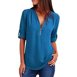 MORCHAN Mode Femmes Casual Tops T-Shirt Lâche Haut à Manches Longues Blouse (M, Bleu Clair) - Publicité