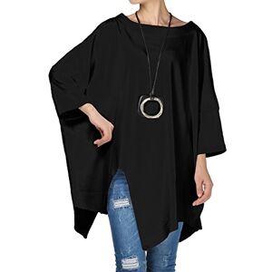 Vogstyle Femme Tee Shirt Long Asymétrique Tunique Chic Décontracté Col Rond Top Automne Printemps Noir L - Publicité